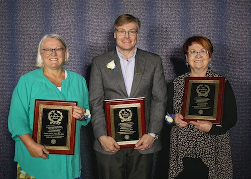 Recipients of the 2018 Littlejohn Awards on the Downers Grove Campus are (from left): Dr. Donna Cech, Dr. Kurt Heinking, and Eva Gairabetoff.